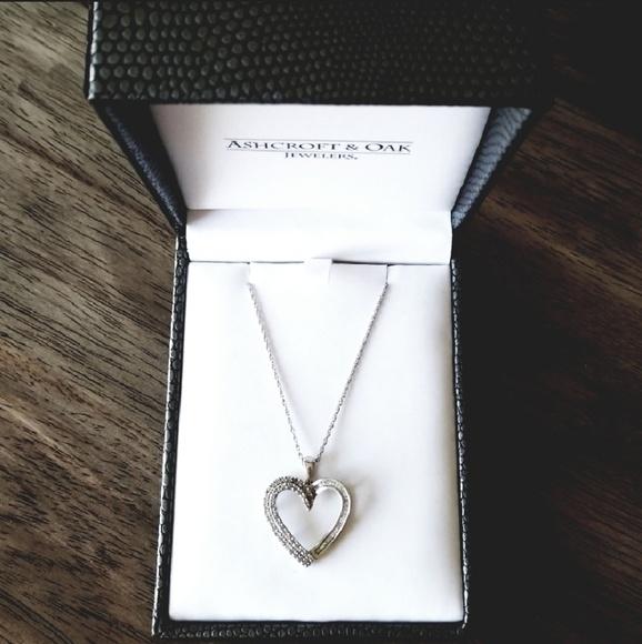 97b7d34076d Jewelry | Large Diamond Silver Heart Necklace | Poshmark